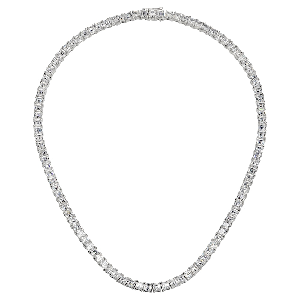 Silver Asscher tennis necklaceZ30225 b
