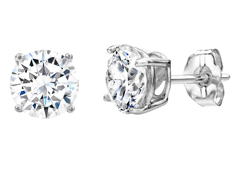Sterling Silver 4 Prong 2 Carat Solitaire Studs V20039 210000000322