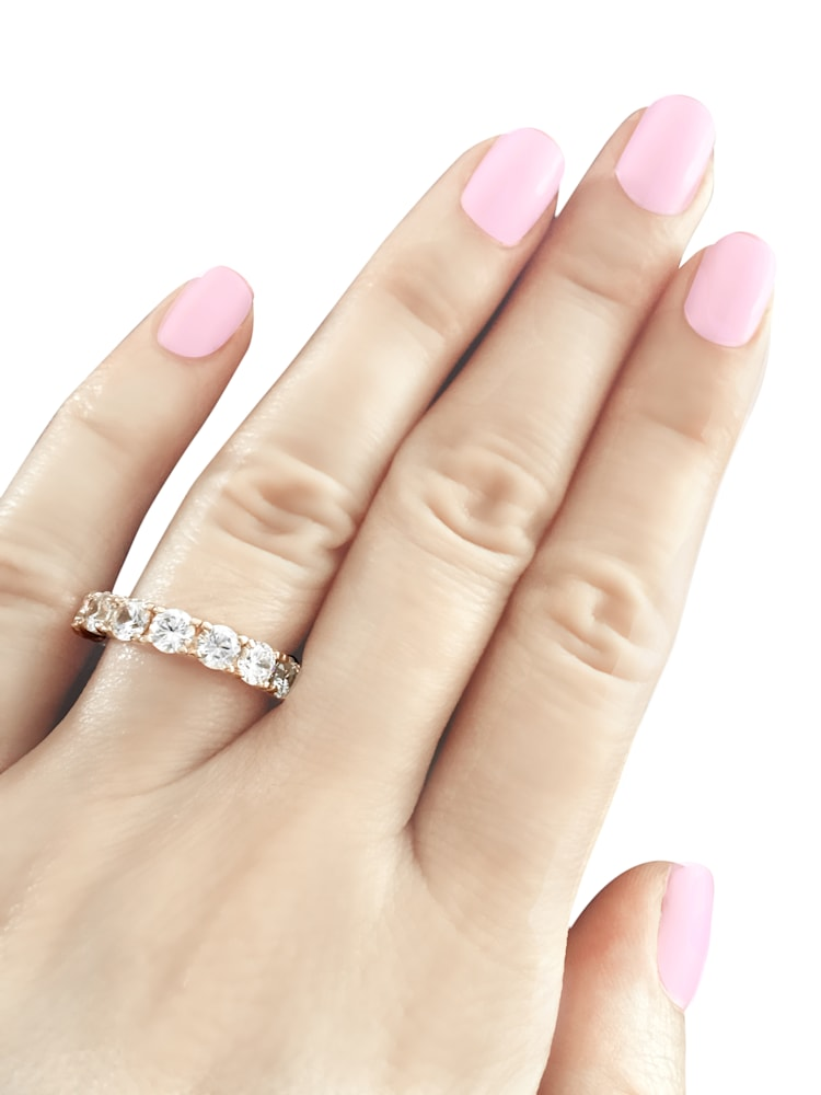 18 KGP Rose Gold 4mm Round Eternity Ring Band Z30168 d 210000000205