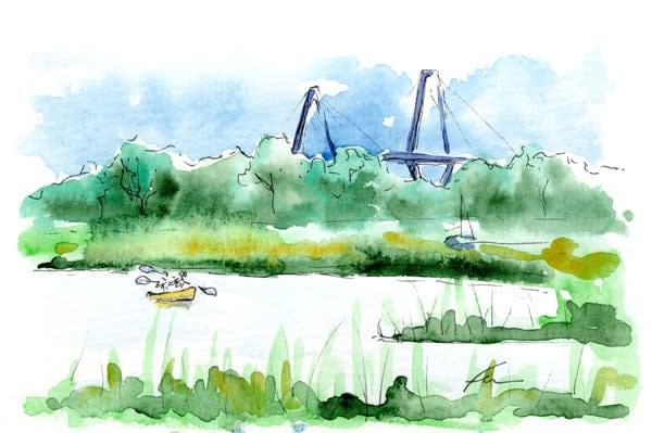 Kayaking at Shem Creek Watercolor
