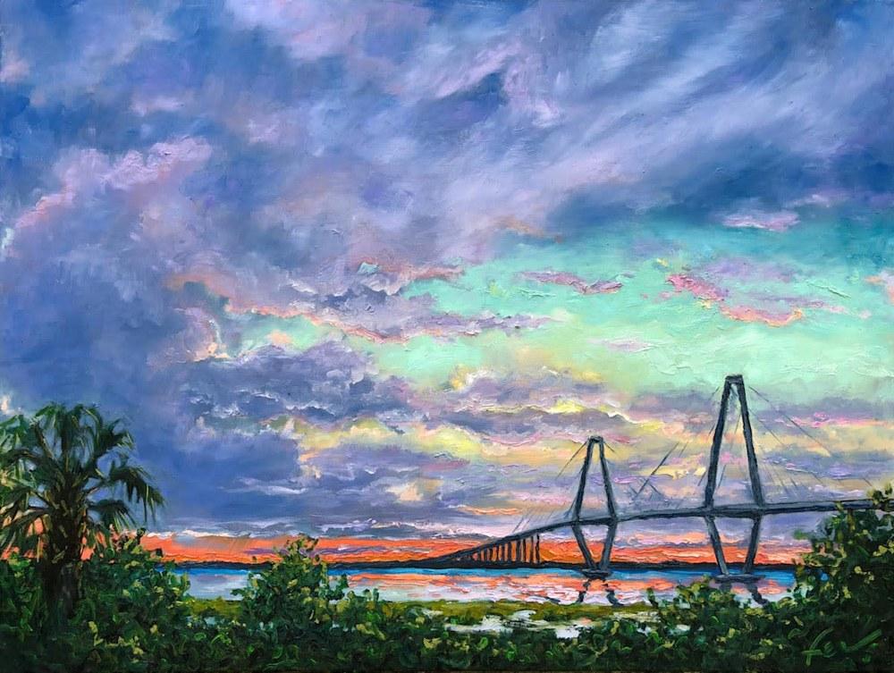 Ravenel Bridge in Charleston at Sunset with clouds Art notecard