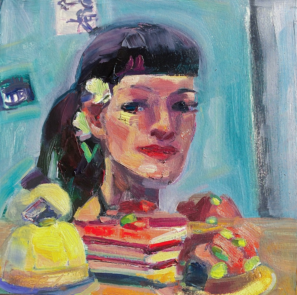 Portrait of Monique With French Dessert Trio, Oil and Mixed Media on Wood, 10x10jpeg