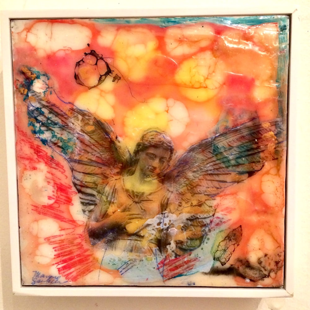 Love Conquers 3 front, Encaustic Wax and Mixed Media, 6x6