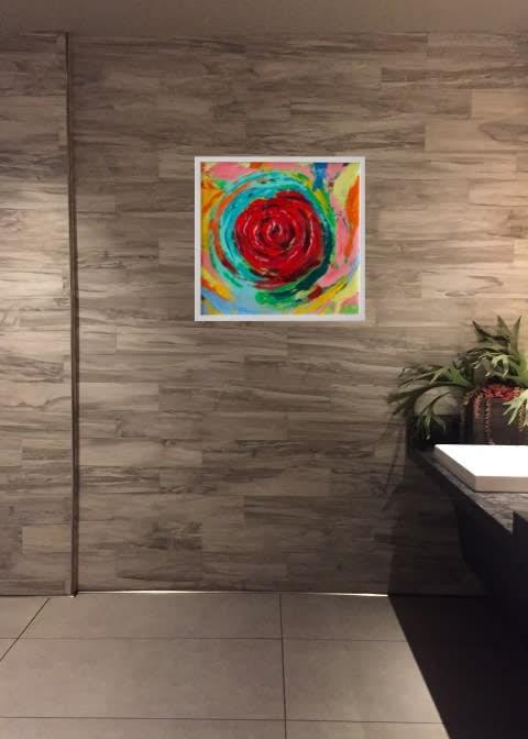 Rose Vortex staged bathroom