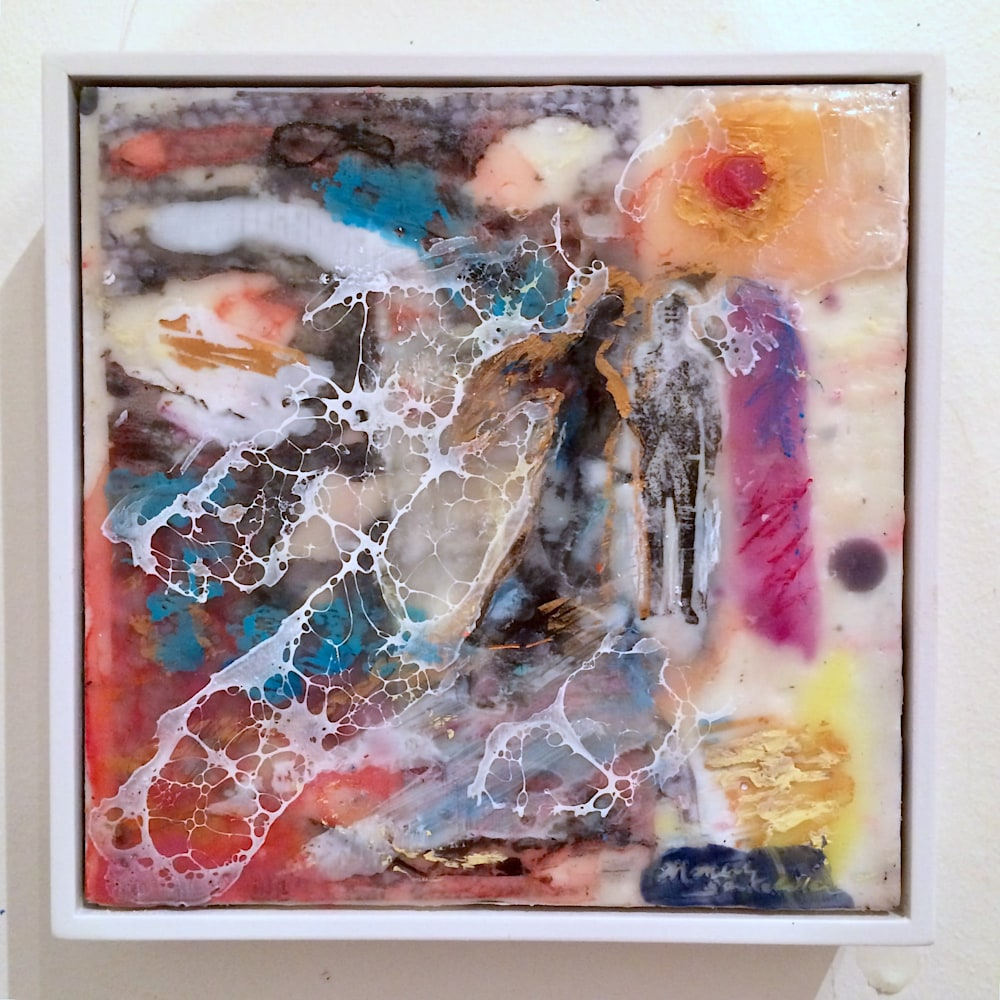 Love Conquers 5 frame, Encaustic Wax and Mixed Media , 6x6