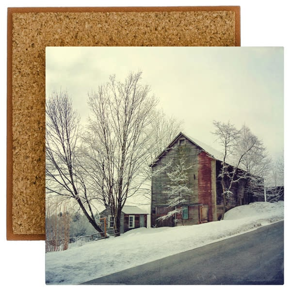 Old Barn after Fresh Snowfall photo tile