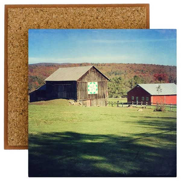 Autumn Barn Quilt Barn Photo Tile