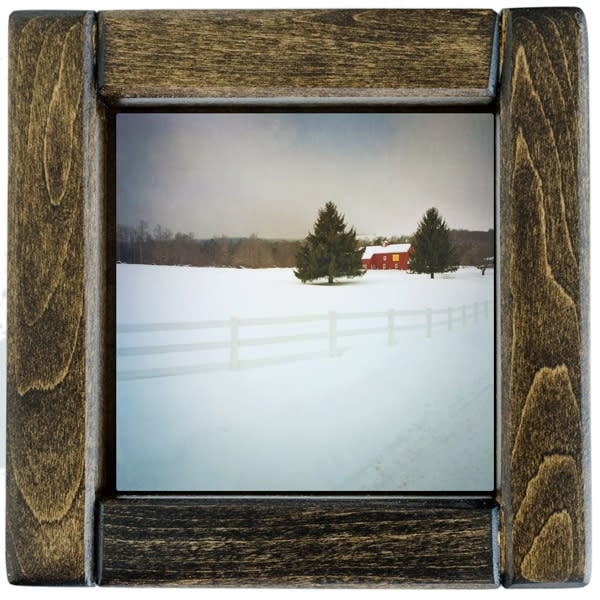 Red Barn with White Fence in Winter Framed