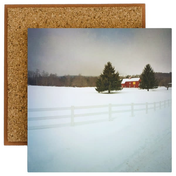 Red Barn with White Fence in Winter Photo Tile