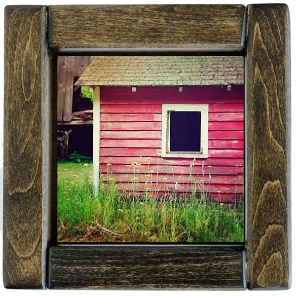Red Barn with Yellow Flowers Framed