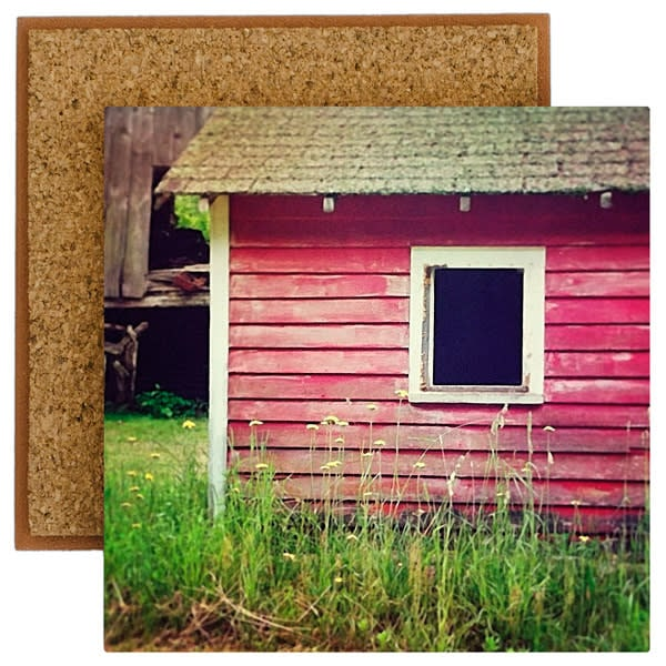 Red Barn with Yellow Flowers Photo Tile