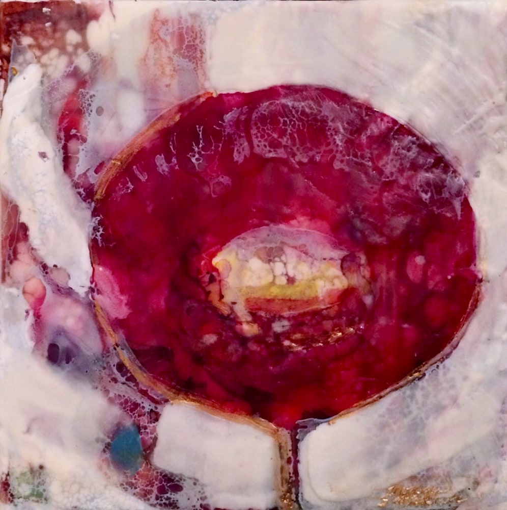 Love Conquers 7 front, Encaustic Wax and mixed media on panel, 6x6jpg