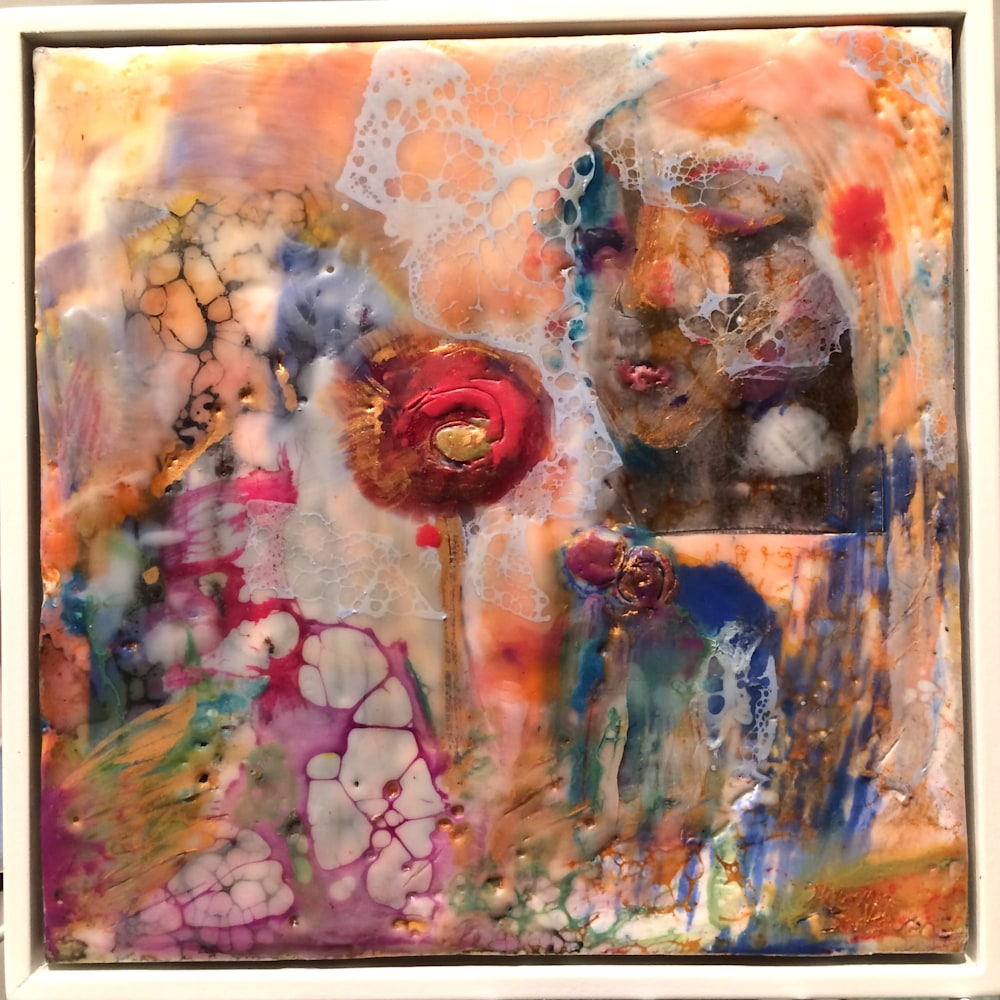 Love Conquers 10 frame, encaustic wax and mixed media on panel, 6x6
