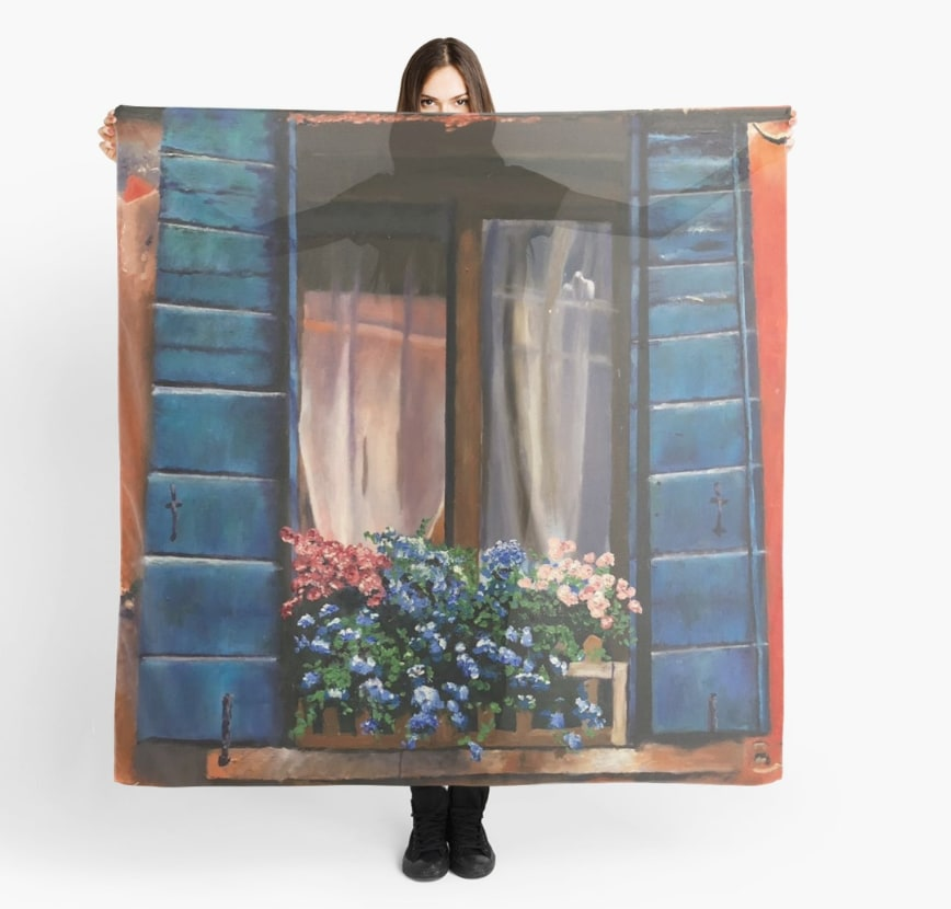 Old Window with Flowers Scarf