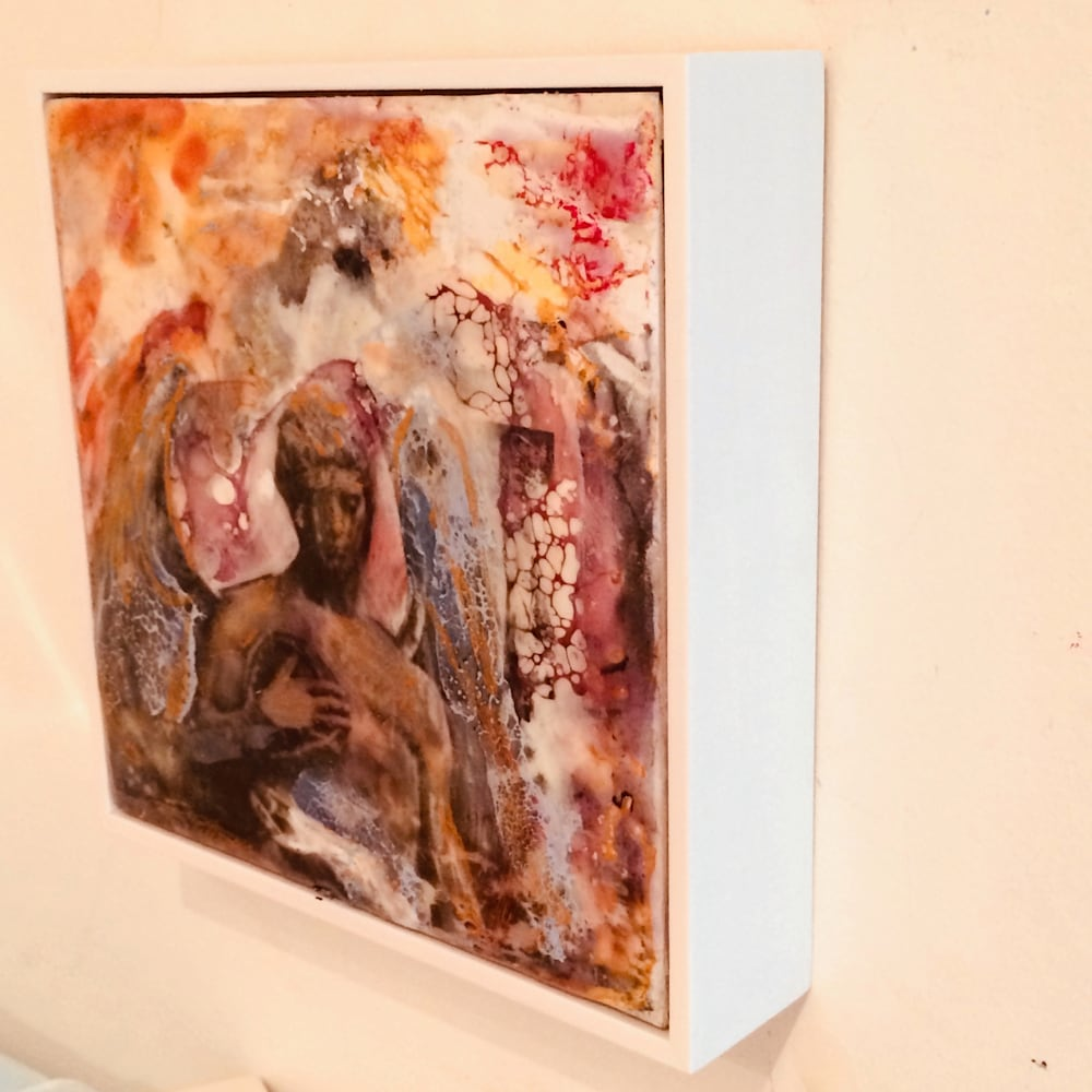 Love Conquers 12 side, Encaustic Wax on Wood, 6x