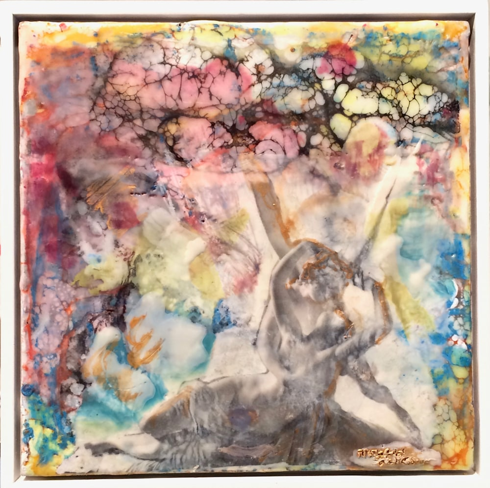 Love Conquers 16 frame Encaustic Wax and Mixed Media , 6x6 (1)