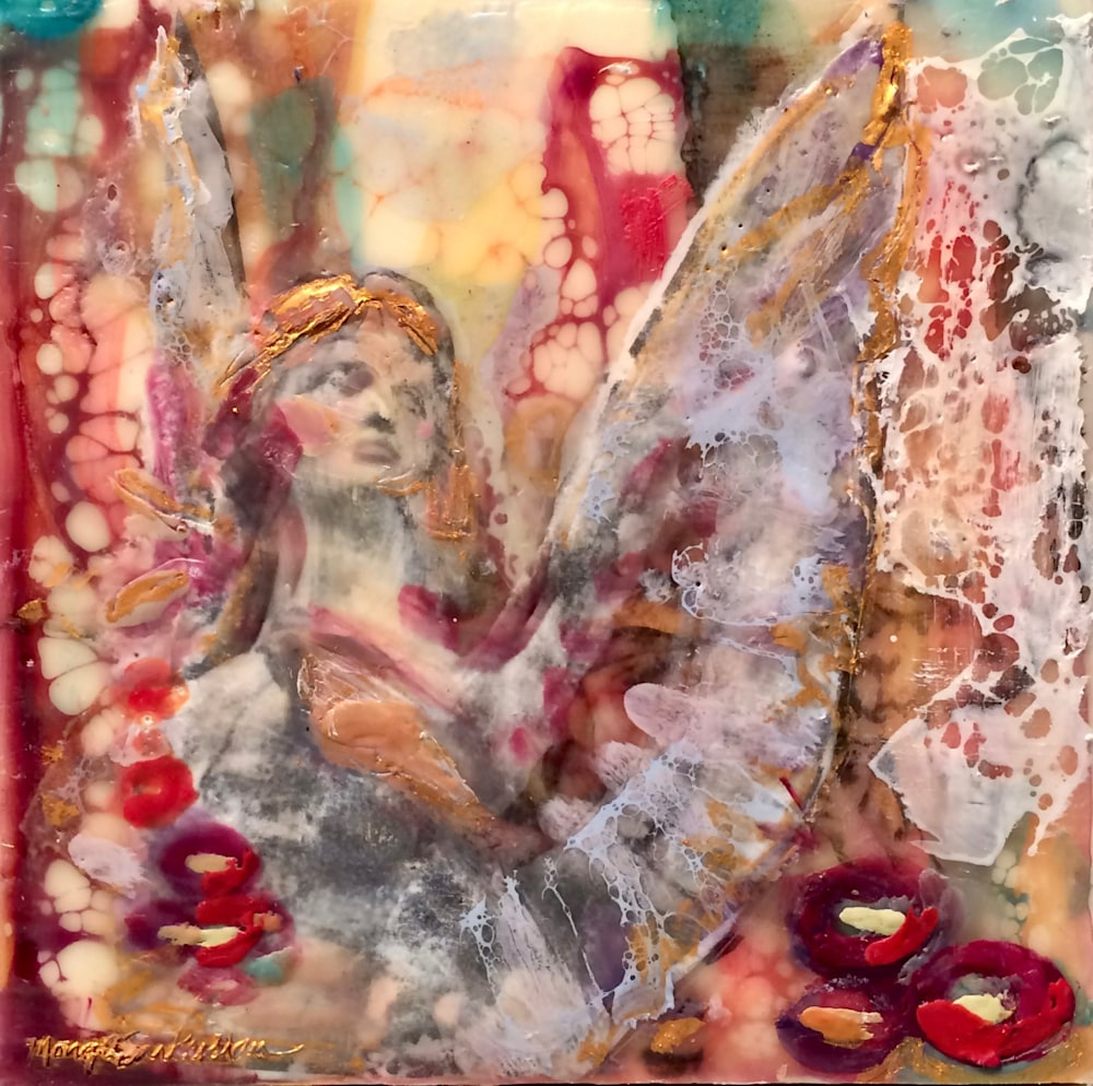 Love Conquers 21 front, Encaustic Wax an