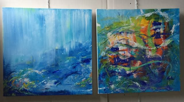 Fishes and Watching the Fishes diptych acrylic 60x30   Version 2