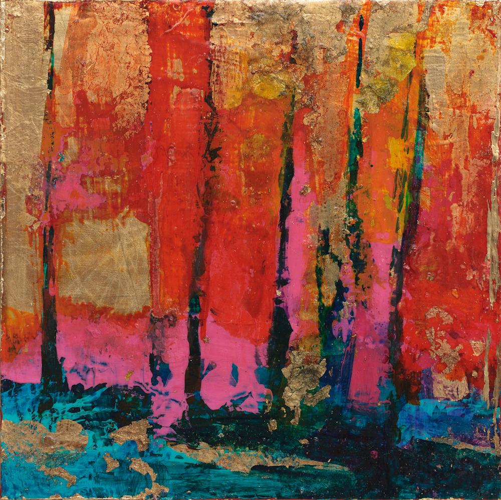 Gold leaf mixed media art Tracy Lynn Pristas Enchanted Treasures II