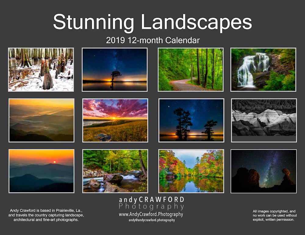 Andy Crawford Photography 2019 calendar back page