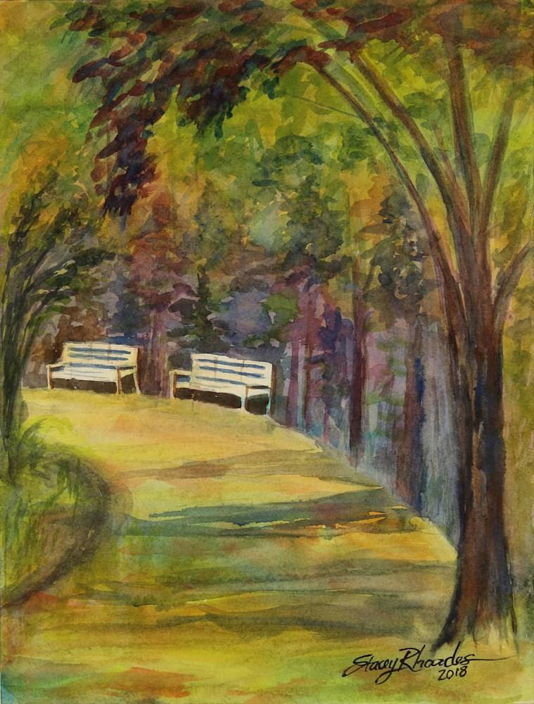Park Benches Original Art Stacey Rhoades Art