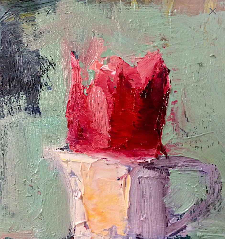 Together Still life Tulip in mini cup, oil 2x2