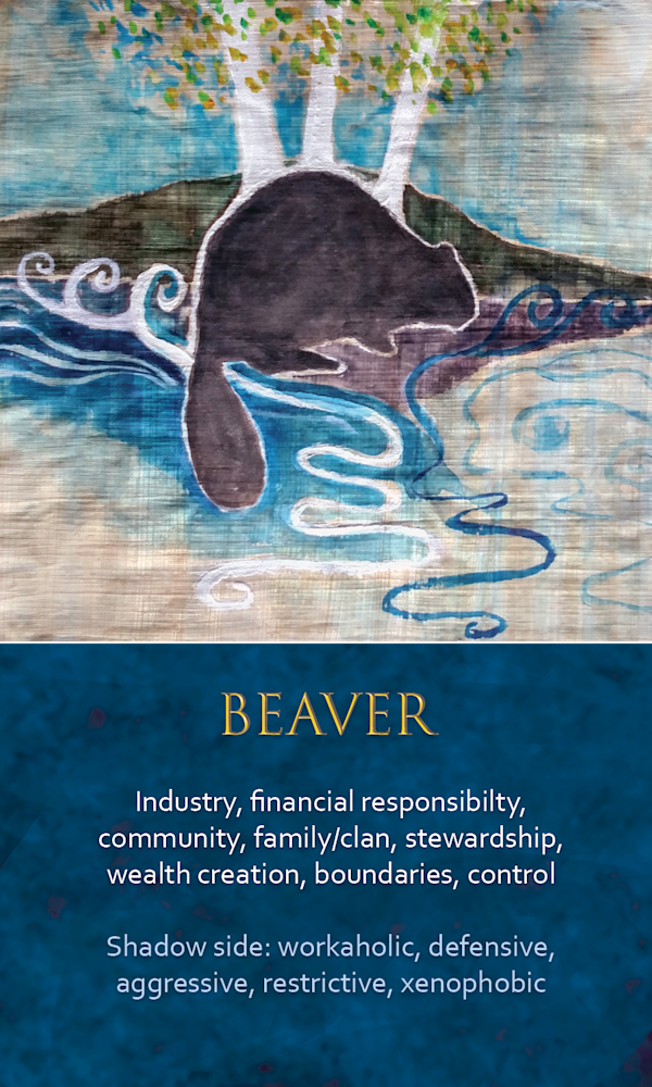 34 spirit animal oracle card Beaver