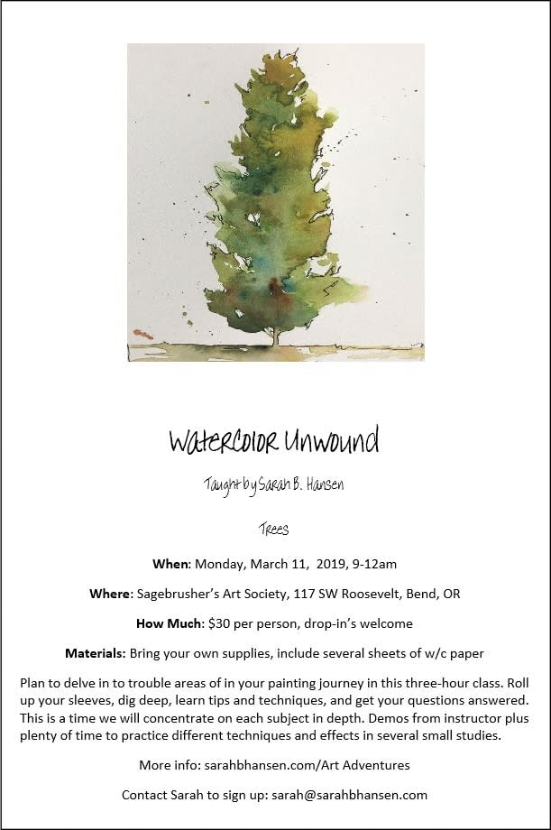 Watercolor Unwound Brochure Trees