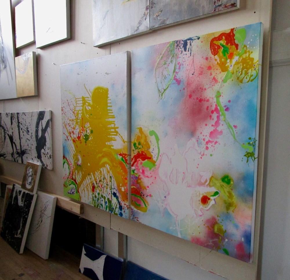 Summer Memories I and II in studio facing left