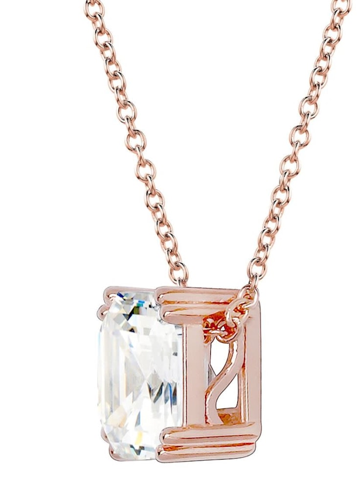 18 KGP Rose Gold Regal 2 Carat Solitaire Asscher Necklace 2