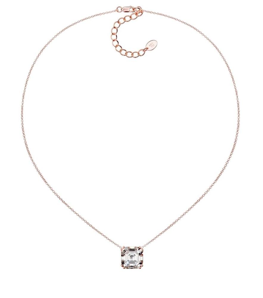 18 KGP Rose Gold Regal 2 Carat Solitaire Asscher Necklace 3