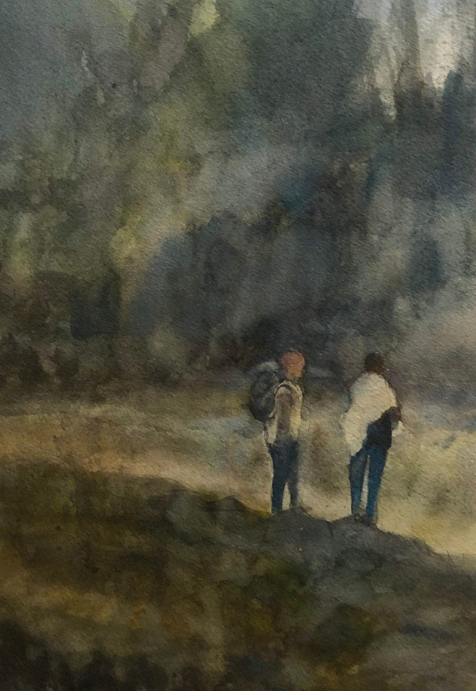 Hiking Together Watercolor 9X13 2018