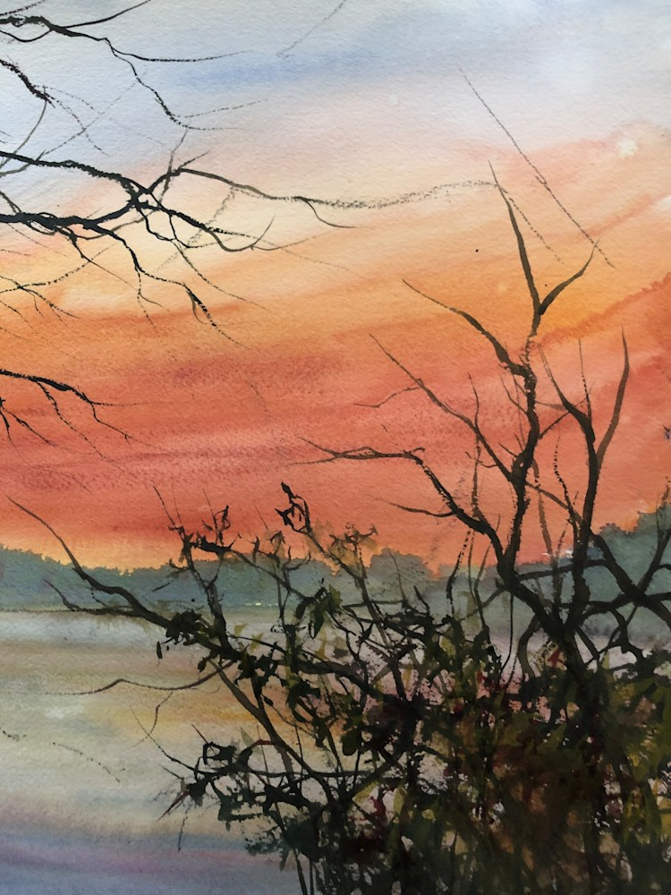 Sunset Wilde Lake Watercolor 14X11 2019