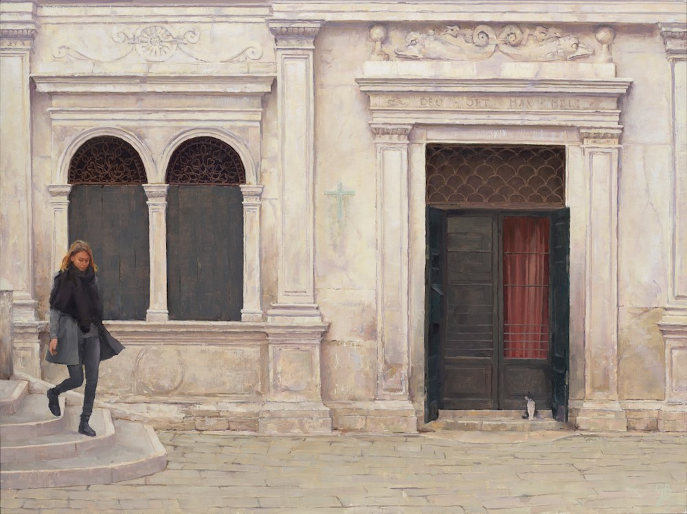 Witness in Venice George Bodine 30x40 Oil on Canvas