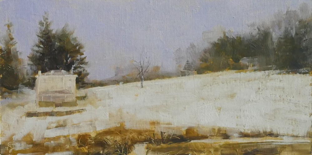 Study for Winter's Flight George Bodine Oil on canvas 6x12