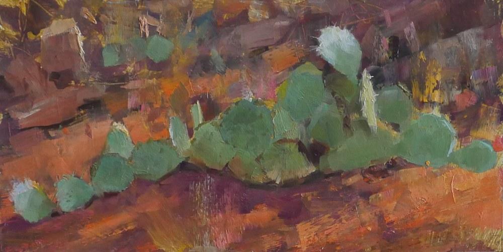 Cactus Sedona George Bodine 6x12 oil on canvas