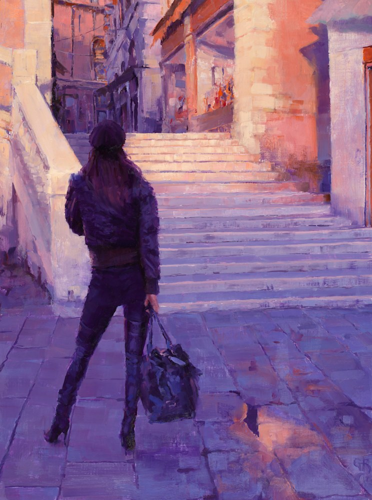 Model at the Rialto George Bodine 24x18 Oil on Canvas 20MB