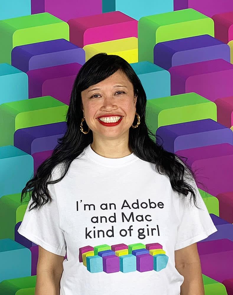 Ime Alba wearing 'I'm an Adobe and Mac kind of girl'