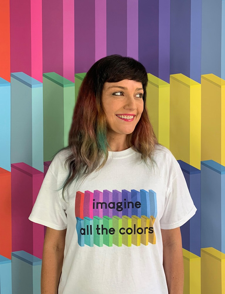 Wearing my 'imagine all the colors' t-shirt