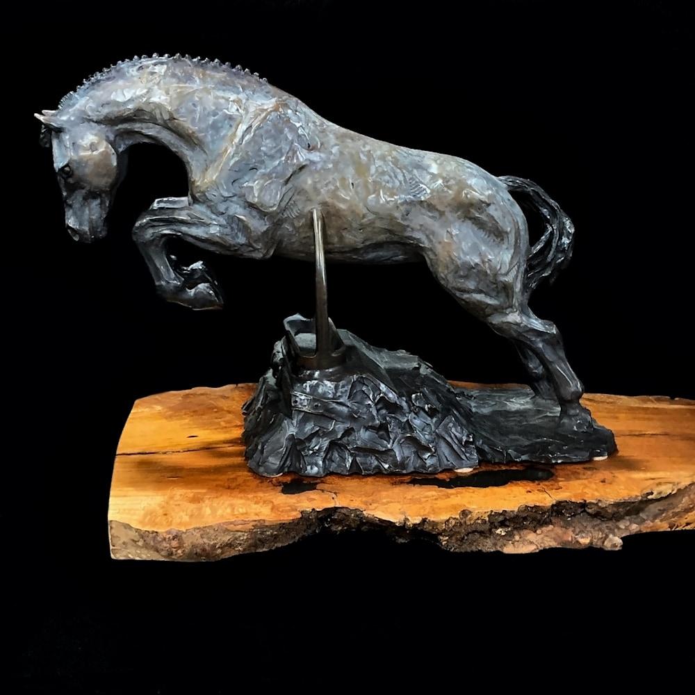Heels Down Bronze Horse