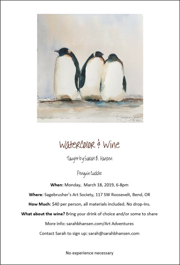 Watercolor & Wine Penguin Cuddle Brochure