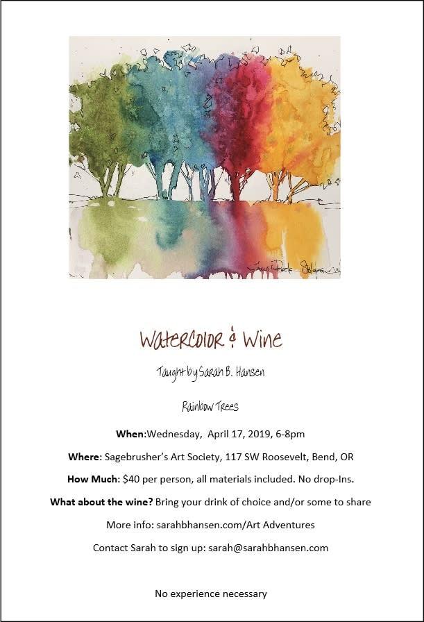 Watercolor & Wine Rainbow Trees Brochure