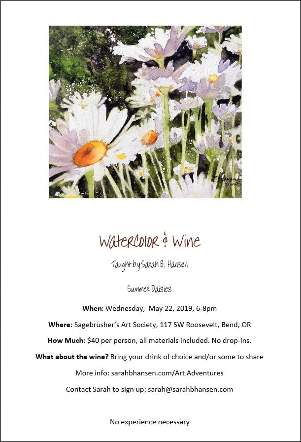 Watercolor & Wine Summer Daisies Brochure