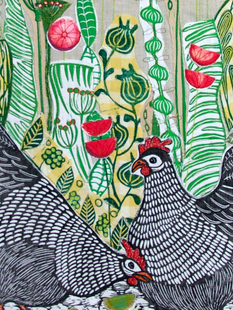 Hens in the Poppyfield detail