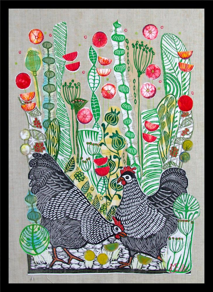 Hens in the Poppyfield framed