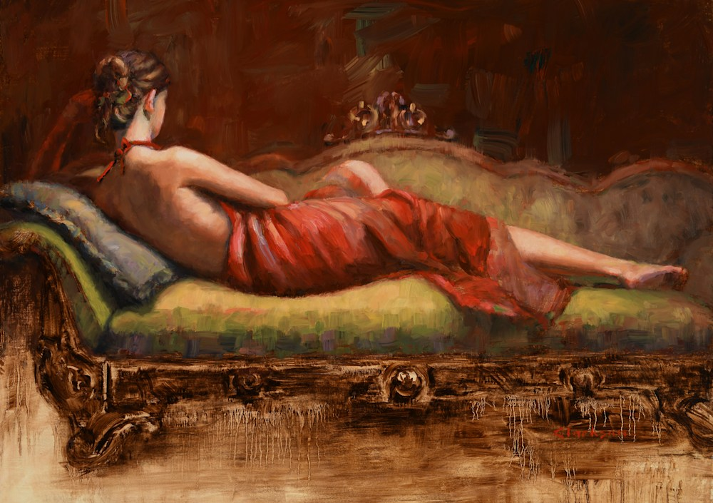 Red Dress Reclining 24 x 17 adj less bright less vibrant