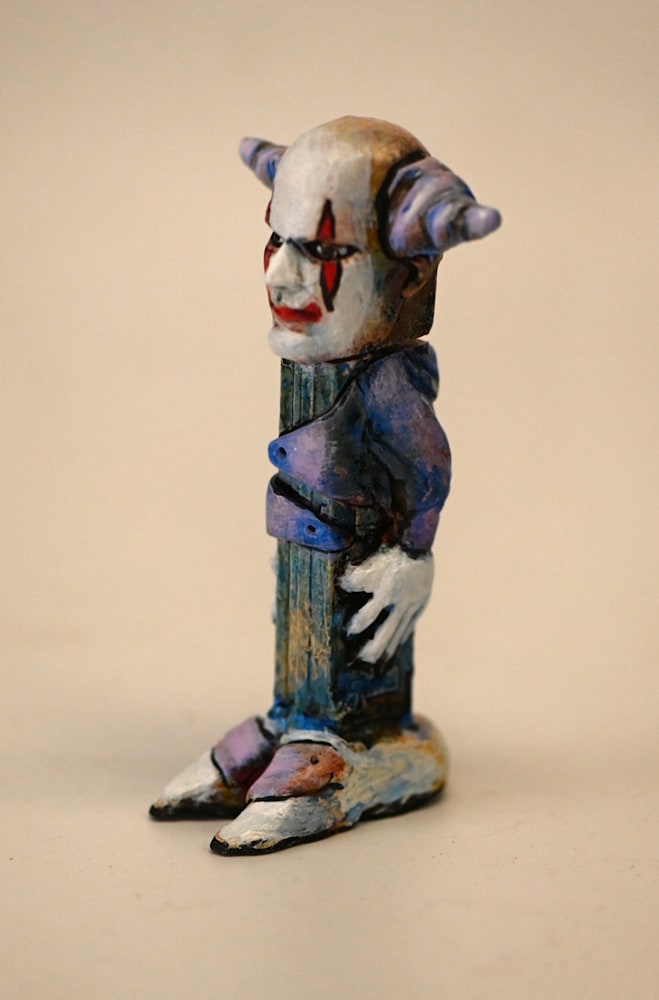 altered Pez dispenser clown side view