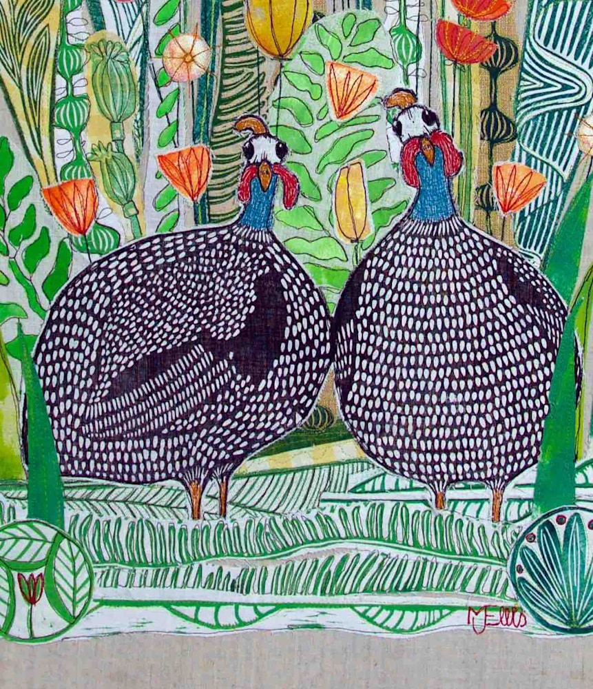 Guinea hens collage sign