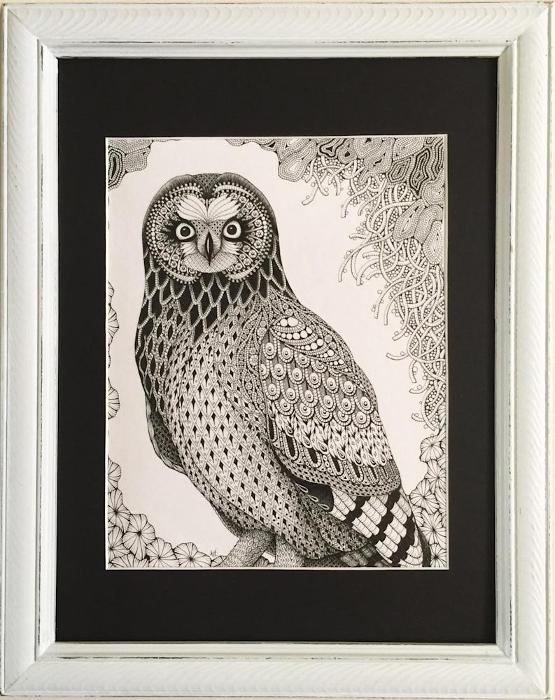 short ear owl framed