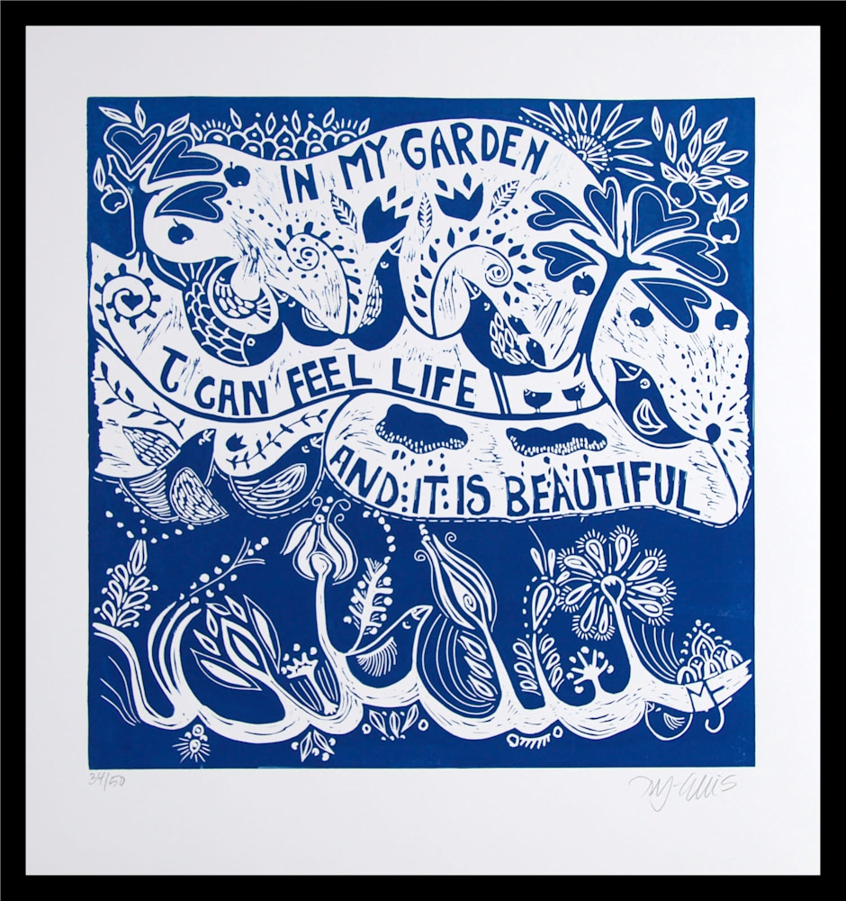 In my garden blue framed